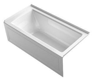 """Kohler K-1947-VBRAW Archer VibrAcoustic 60"""" x 30"""" Integral Apron Bath Tub with Bask Heated Surface, Integral Flange, and Right-Hand Drain in"""