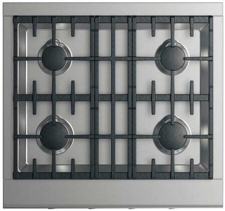 """DCS CPV2-304 30"""" Professional Cooktop with 4 Sealed Dual Flow Burners, Continuous Surface Grates, Halo-Illuminated Dials, and Easy to Clean: Stainless Steel"""