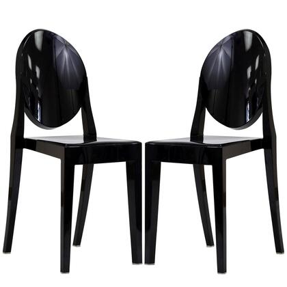 Modway EEI-906-XXX Casper 2x Injection Molded Stackable Modern Dining Chairs Made of Polycarbonate