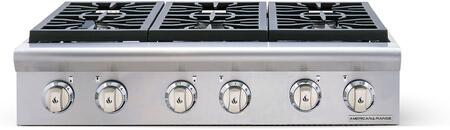 """American Range AROBSCT636 36"""" Performer Series Slide-In Gas Rangetop with 6 Open Burners, Automatic Electronic Ignition and Commercial Grade Cast Iron Grates in Stainless Steel:"""