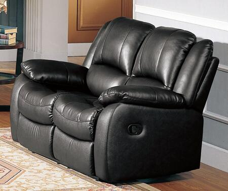 Yuan Tai CL8813LBK Clermont Series Leather Loveseat with Wood Frame Loveseat