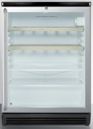 """Summit SCR600BLSHWOxx 24"""" Commercially Approved Freestanding Beverage Center with 5.5 cu. ft. Capacity, 2 Glass Shelves, Automatic Defrost, 2 Wine Racks, Double Pane Glass Door, and Lock, in Stainless Steel"""