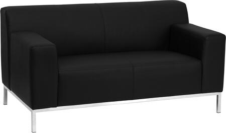 Flash Furniture ZBDEFINITY8009LSBKGG HERCULES Definity Series Bonded Leather Stationary with Metal Frame Loveseat