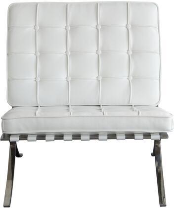 Diamond Sofa CORDOBACHWH Cordoba Series Bonded Leather with Metal Frame in White