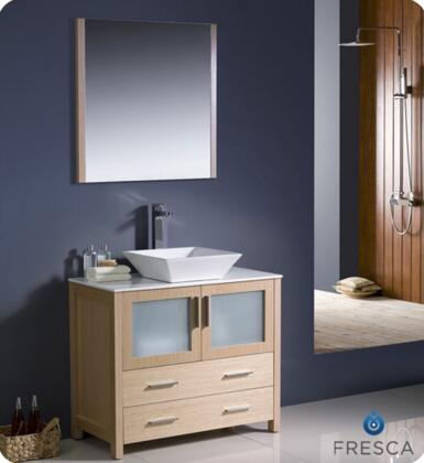 "Fresca Torino Collection FVN6236XX-VSL 36"" Modern Bathroom Vanity with Vessel Sink, Mirror and 2 Frosted Glass Panel Soft Closing Doors in"