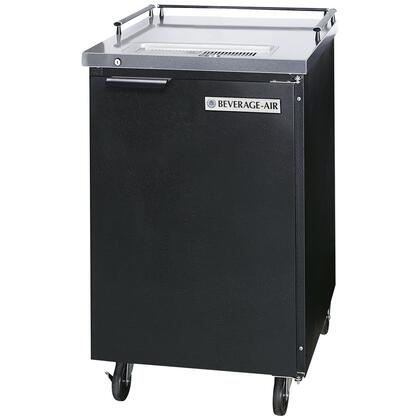 """Beverage-Air BM23 Black Beer Dispenser 24"""" with 1 Keg Kegerator, Portable design, Black exterior, Stainless steel top & floor, Galvanized interior, Self-closing door with locks, Self-contained refrigeration, One keg capacity, UL and NSF listed"""