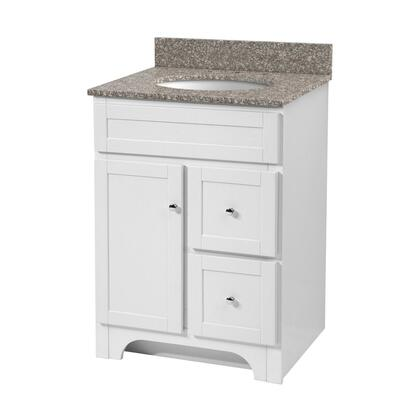 "Foremost Worthington WR 30"" Vanity with Brushed Nickel Hardware, Close Arched Toe Kick, 1 Door and 2 Drawers in"
