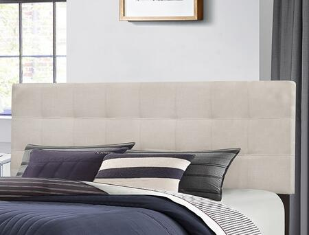 Hillsdale Furniture Delaney Collection 2009HXRF Size Headboard with Rails, Fabric Upholstery and Subtle Square Tufting in Fog