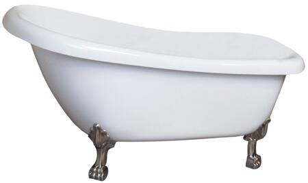 """Barclay ASN62LPWH Heather 62"""" Acrylic Slipper Bath Tub with No Holes, 47 Gallon Capacity, and Lion Feet Finished in:"""