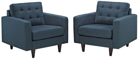 "Modway Empress Collection 35"" Set of 2 Armchairs with Solid Wooden Tapered Legs, Deeply Tufted Buttons and Fabric Upholstery in"