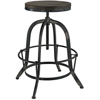 Modway EEI-1208 Collect Wood Top Bar Stool with Solid Pine Wood Top, Tubular Root Ring, 330 lbs. Capacity and Cast Iron Base