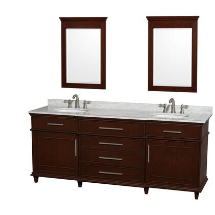 """Wyndham Collection WCV171780D Berkeley 80"""" Double Sink Vanity with White Porcelain Oval Undermount Sinks, 2 Doors, 4 Drawers, Marble Counter Top, in"""