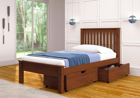 Donco 500XE-505-E X Size Contemporary Bed with Slat Kit and Dual Underbed Storage Drawer with Casters in Light Espresso Finish