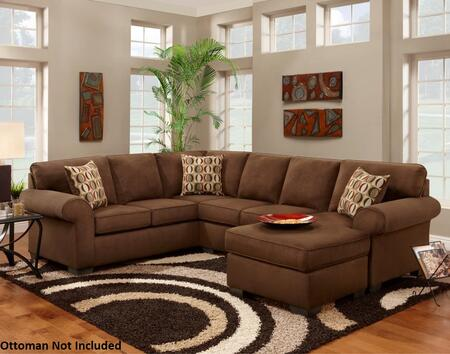 Chelsea Home Furniture 193050-X Adams Sectional with Left Arm Facing Loveseat, Right Arm Facing Sofa, Lunar Cinnamon Toss Pillows and Microfiber Upholstery in Patriot Chocolate
