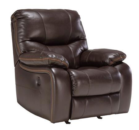 Signature Design by Ashley Pranas 47900REC Rocker Recliner with Plush Padded Arms, Thick Divided Back Cushion and Contrasting Trim in Brindle