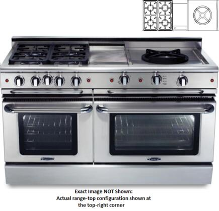 "Capital CSB604GWWN 60"" Precision Series Dual Fuel Freestanding Range with Sealed Burner Cooktop, 4.6 cu. ft. Primary Oven Capacity, in Stainless Steel"