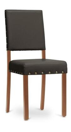 Wholesale Interiors Baxton Studio IDAC013SC4 Walter Modern Dining Chair with Solid Wood Frame, Polyurethane Foam Cushioning, Wooden Legs and Faux Leather Upholstery