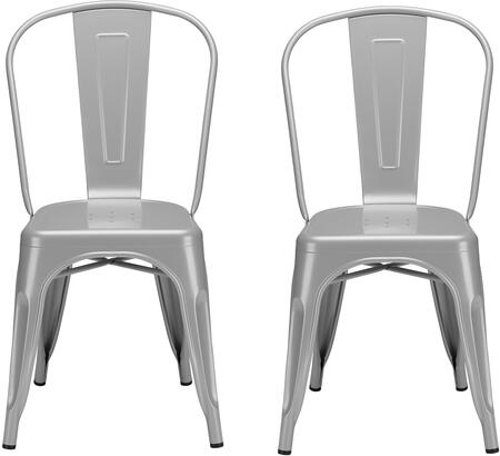 EdgeMod EM112GRYX2 Trattoria Series Modern Metal Frame Dining Room Chair