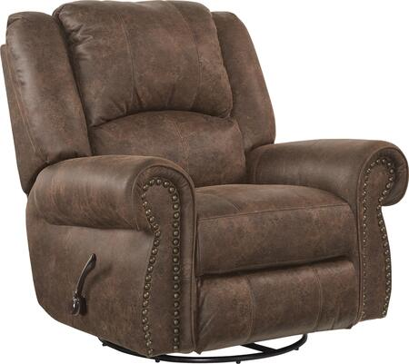 "Catnapper Westin Collection 1050-5 41"" Swivel Glider Recliner with Faux Leather Upholstery, Rolled Arms and Decorative Nailhead in"