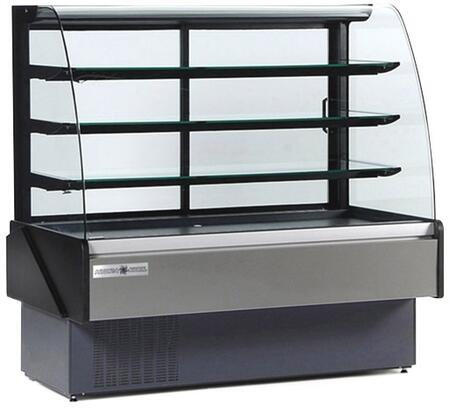 Hydra-Kool KBDCGxR Curved Glass Bakery/Deli Case with Cooling BTU, Tilt Out Curved Tempered Front Glass, in Black