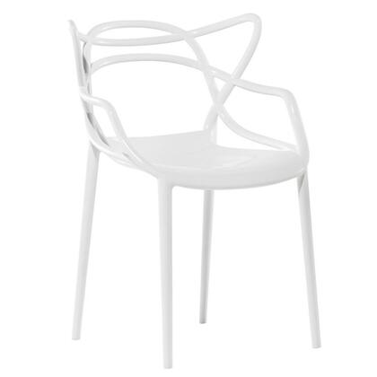 Fine Mod Imports FMI10067WHITE Contemporary Not Upholstered Plastic Frame Dining Room Chair