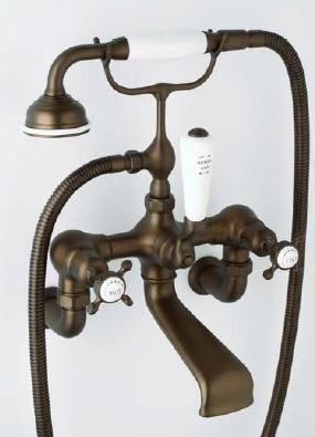 Rohl U.3511X/1- Exposed Wall Mounted Tub Filler With Handshower And Cross Handles: