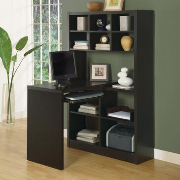 Monarch I 702 Hollow Core Left or Right Facing Corner Desk, with Pull Out Keyboard Tray, Six Small Shelves, and Four Large Shelves