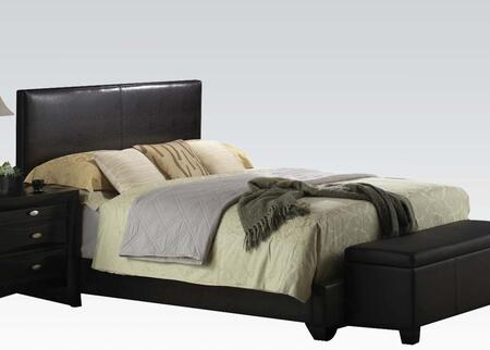 Acme Furniture Ireland Platform Bed with Tapered Legs and Bycast PU Leather Upholstery in Black Color