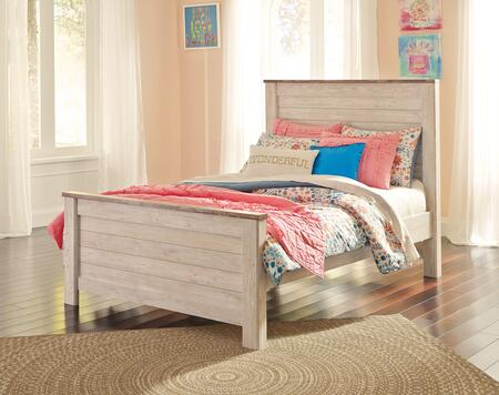 Signature Design by Ashley Willowton Collection B267PANEL X Size Panel Bed with Block Feet, Distressed Detailing and Plank-Design on Headboard and Footboard in Whitewashed Color