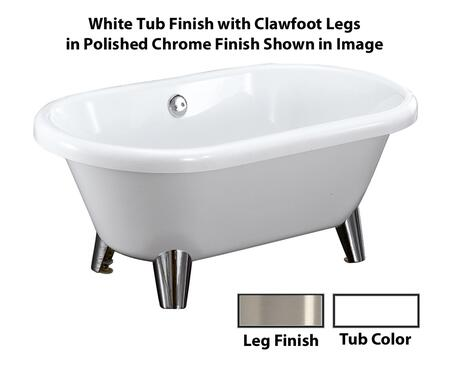 "Barclay ATDRN58MWH Bingham 59"" Acrylic Double Roll Top Clawfoot Tub, with White Tub Finish, No Overflow, Modern Foot Design, with Clawfoot Finish in"