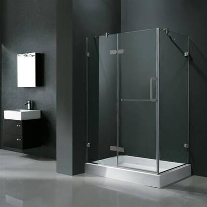 "Vigo VG6011XXCL40WL 32"" x 40"" Frameless 3/8"" Shower Enclosure with Left Base:"