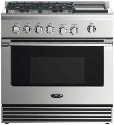 "DCS RDV2364GD 36"" Dual Fuel Range with 4 Sealed Dual Flow Burners, Griddle, 4.8 Cu. Ft. Oven Capacity, 5 Shelf Positions, and 6 Oven Functions: Stainless Steel"