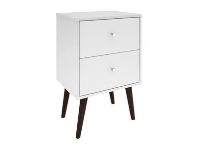 "Manhattan Comfort Liberty 2.0 Collection 204AMCXX 18"" Mid Century - Modern Nightstand with 2 Full Extension Drawers and Solid Wood Legs in"