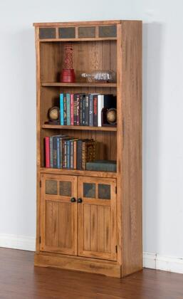 """Sunny Designs Sedona Collection 2862RO-B 30"""" Bookcase with X Adjustable Shelves and Natural Slate Accents in Rustic Oak Finish"""