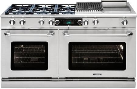 """Capital CSB606BGN 60"""" Precision Series Gas Freestanding Range with Sealed Burner Cooktop, 4.6 cu. ft. Primary Oven Capacity, in Stainless Steel"""