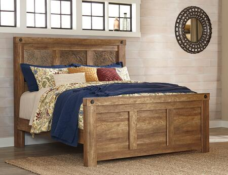 Signature Design by Ashley Ladimier Collection B399PANEL X Size Panel Bed with Accent 3D Pressed Faux Copper Panel, Replicated Worn Cedar Finish and Clean-Line Design in Golden Brown