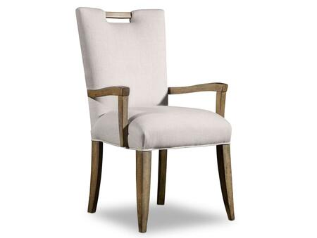 """Hooker Furniture Melange Series 638-7513 38.5"""" Traditional-Style Dining Room Barrett Arm Chair with Tapered Legs, Piped Stitching and Fabric Upholstery in Beige (Sold in 2 Chairs per Order/Priced Individually)"""