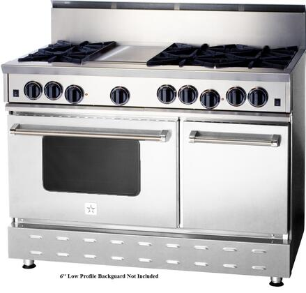 """BlueStar RNB Series RNB486GV1 48"""" Freestanding Gas Range with 6 Cast Iron Open Burners, 4.5 Cu. Ft. Convection Oven, 12"""" Griddle, Simmer Burner, Full Motion Grates and Stainless Steel Drip Trays"""