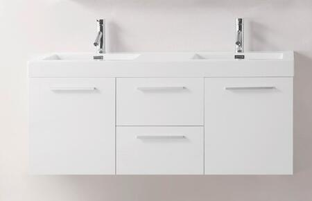 "Virtu USA JD-50154-XX-001 Modern 54"" Double Sink Bathroom Vanity Set with Brushed Nickel Faucet"