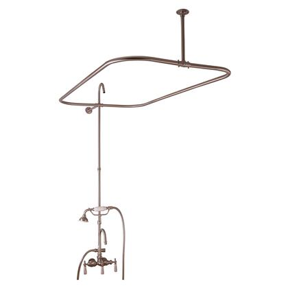 Barclay 414448 Converto Rectangular Shower Unit with Riser and Shower Ring Gooseneck Spout, Porcelain Lever Handles with Handheld Shower in