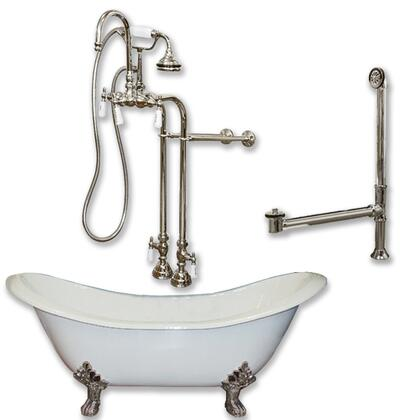 "Cambridge DES398684PKG Cast Iron Double Ended Slipper Tub 71"" x 30"" with no Faucet Drillings and Complete Free Standing English Telephone Style Faucet with Hand Held Shower Assembly Plumbing Package"