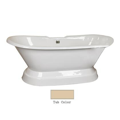 "Barclay CTDRN68B Gaelyn 68"" Cast Iron Double Roll Tub with Structured Base and White Enamel Interior, in"