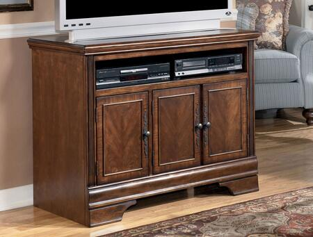 """Signature Design by Ashley Hamlyn W527-X8 X"""" Size T.V. Stand with Open Shelf for Media Players, Profiled Mouldings, Doors with Bronze Metal Hardware and Cherry Veneer Construction in Dark Brown Finish"""