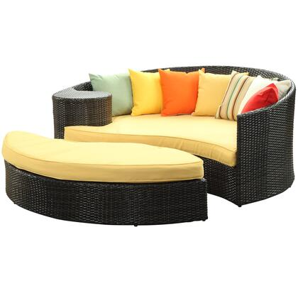 """Modway Taiji Collection EEI-645- 71"""" Outdoor Daybed and Ottoman with 7 Throw Pillows, All Weather Synthetic Rattan Weave, Water and UV Resistance in"""