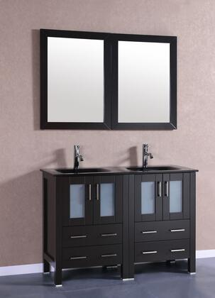 Bosconi Bosconi AB224BG Double Vanity with 4 Soft Closing Doors, 1 Faucet Hole, 2 Black Tempered Glass Sinks, Drawers, Beveled Edge Mirror, Brushed Nickel Hardware and Solid Oak Frame Construction in Espresso Finish