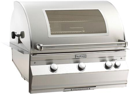 "FireMagic A660I6EAXW Aurora Series 30"" Built-In Grill with Magic View Window, E-Burners, Stainless Steel Construction, Analog Thermometer, 75000 Primary BTUs, and 660 Sq. In. Cooking Surface, in Stainless Steel"