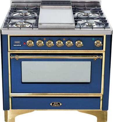 "Ilve UM90FVGGBLS 36"" Majestic Series Gas Freestanding Range with Sealed Burner Cooktop, 3.55 cu. ft. Primary Oven Capacity, Warming in Midnight Blue"