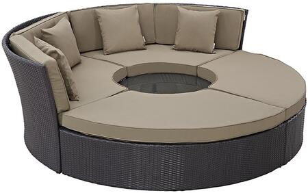 """Modway Convene EEI2171EXPSET 86.5"""" Circular Outdoor Patio Daybed with Ottomans, Pillows Included, Fabric Cushion, Powder Coated Aluminum Tube Frame, UV and Water Resistant in Espresso and"""