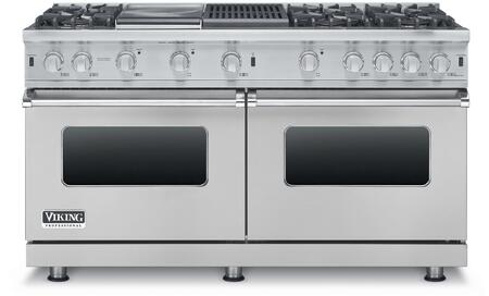 """Viking VGCC5606GQLP 60"""" Professional 5 Series Liquid Propane Double Oven Range with 6 Sealed Burners, Grill and Griddle, SureSpark Ignition System and TruGlide Full Extension Racks, in"""