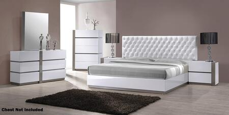 VIG Furniture VGKBVERO Modrest Vero Platform Bedroom Set with Artificial Block Crystals, Button Tufted Headboard and Fabric Upholstery in White